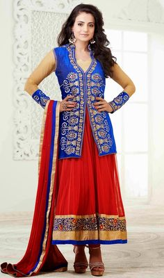 Grab the attention of everyone in the room just like Ameesha Patel as dressed in this blue and red faux georgette churidar dress. The butta, lace, resham, stones and velvet patch work appears chic and ideally suited for any occasion. #AmazingBollywoodCollection