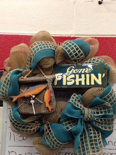 Mesh gone fishing wreath