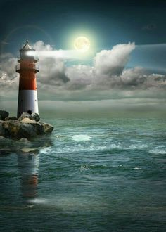 Lighthouse at night under the moonlight. Mystery and maritime image Lighthouse Painting, Lighthouse Pictures, Lighthouse Storm, Lighthouse Decor, Beautiful Places, Beautiful Pictures, Water Tower, Beautiful Landscapes, Nature Photography