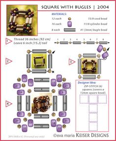 * Eva Maria Keiser Designs: Tutorial: PPS: Square with Bugles Beaded Jewelry Designs, Seed Bead Jewelry, Bead Jewellery, Beading Jewelry, Jewelry Making Tutorials, Beading Tutorials, Beading Techniques, Beaded Earrings, Beaded Bracelets