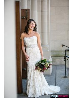 Actress Laura Benanti wore a Wedding Dress by Anne Barge for her New York City nuptials. Wedding photos featured in People magazine Style Watch.  http://stylenews.peoplestylewatch.com/2015/11/18/laura-benanti-wedding-dress-photos-celebrity-wedding-gowns/