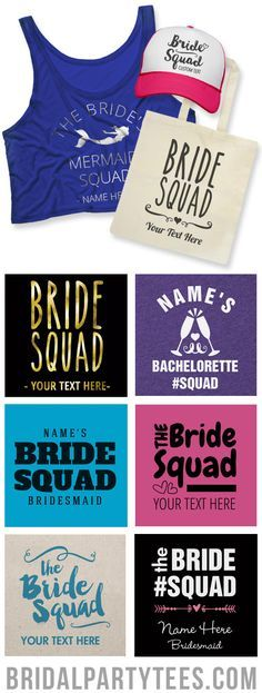 Ain't no one fresher than your clique. Have the ultimate bachelorette party with custom Bride Squad shirts! #bridesquad