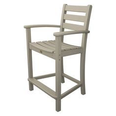 Trex Outdoor Furniture Recycled Plastic Monterey Bay Counter Height Arm Chair Sand Castle - TXD201SC