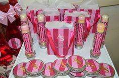 Chá de Lingerie estilo Victoria's Secrets - personalizados e decoração - tubetes, latas mint to be e sacolinhas