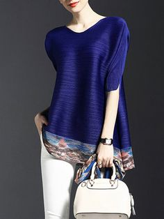 Blue Plain Crew Neck Casual Polyester Tunic