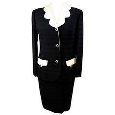Egon Von Furstenberg 1980s set dress suit skirt jacket women's black wool sz 44