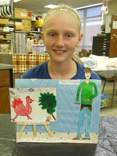 """""""Students randomly choose artists in 6th grade exploratory art and then make a display about that artist.   Here are students as they gave their reports on their artists."""""""