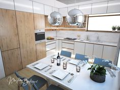 Návrh kuchyne Svet vôní, pohľad na druhú časť kuchynskej linky Kitchen Island, Kitchen Cabinets, Conference Room, Table, Furniture, Home Decor, Island Kitchen, Decoration Home, Room Decor
