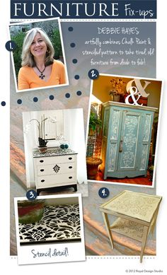 Looking for some fabulous inspiration to transform furniture with stenciling? Look no further. Debbie Hayes of Faux Design Studio shares some of her favorite furniture pieces painted with Royal Design Studio stencils and Annie Sloan Chalk Paint™.