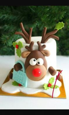 Rulphdolf the red nose reindeer cake
