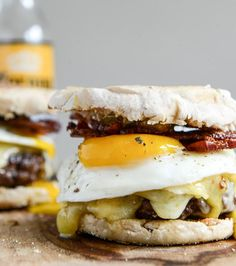 Sunny-side up with a breakfast burger, garnished with an egg and maple aioli.