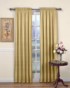 Beacon Looms Majesty 100-Percent Silk 42-Inch by 84-Inch Window Panel, Lined, Gold by BEACON LOOMS. $31.22. 42-Inch w by 84-Inch l. 100-percent 15 momme silk face; lined 100-percent cotton. Dry clean. Finest 100-percent silk 42-inch wide window panel with 100-percent cotton lining. 100-Percent silk drape and luster; 3in rod pocket; 3in bottom hem; lined. Majesty 15mm weight silk panel gives you a custom look at a ready-made price. With it's natural texture and lustro...