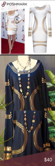 """""""Miusol"""" black bodycon statement dress """"Miusol"""" black, curve hugging bodycon, Egyptian design statement dress. Dress is easy on and off over the head. The neckline is lower in the back than the front. The front of the dress is embellished with gold foil accents around the neck, chest, sleeves and bottom of the dress. Width across the chest is 21"""". The length from the top of the shoulder to the hem is 36"""". Miusol Dresses Long Sleeve"""