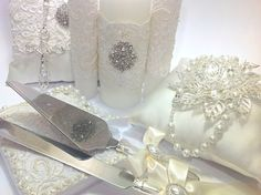 Wedding Set Crystal pearl lasso, Wedding Unity Candle, Wedding bible and Rosary, Priced individually or bundle to save!