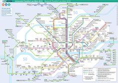 Le #métro de #Francfort est un moyen de transport de Francfort en Allemagne plus connu sous le nom de #U-Bahn, acronyme de #Untergrundbahn, qui signifie <i>souterrain</i>. Le réseau ferré mesure 65 km sur 9 lignes comprenant 86 stations. Il fut inauguré en 1968 et malgré les nombreux agrandissements qui ont été faits, le métro est assez vieux. En plus du métro, il existe le S-Bahn qui est un train de banlieue. Un aller simple en métro coûte 2 euros (USD 2.3) et le forfait est valable...