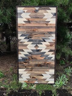 Rustic Aztec Tribal Print Quilt Wood Pattern Wall Art