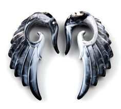 Pair Acrylic Marble look Angel Wing Design Ear Taper Plugs Gauges - 6G JewelryVolt, http://www.amazon.com/dp/B008B04LY2/ref=cm_sw_r_pi_dp_q0jArb0GEETZ8/181-6896760-7002062