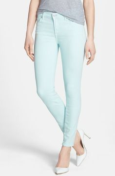 Skinny mint jeans for spring.