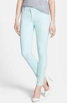 Skinny mint jeans for spring.