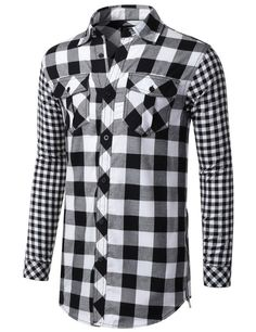 Buffalo Check Pattern Button Down Shirt - Doublju #doublju #mensfashion #menswear
