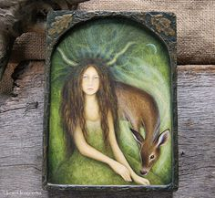 Elen of the Ways Original Painting on Wood by JuneUriagereka