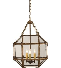 Visual Comfort Suzanne Kasler Morris Small Lantern in Gilded Iron Finish with Clear Glass Comfort & Co.Morris Small Lantern in Gilded Iron Finish with Clear GlassProduct Code: Gilded Iron with WaxCollection - Des Lantern Pendant Lighting, Pendant Light Fixtures, Basement Wall Colors, Visual Comfort Lighting, Suzanne, Small Lanterns, Glass Photo, Candelabra Bulbs, Glass Panels