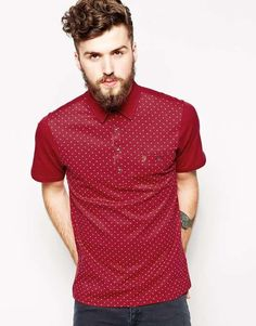 Farah Vintage Polo with All Over Cross Print in Slim Fit