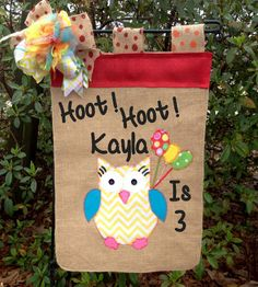 Owl Garden Flag- Happy Birthday Flag- Owl Nursery Decor-Customized Birthday Flag-Birthday Party Decor-Welcome Home Flag- Burlap Garden Flags by TallahatchieDesigns on Etsy