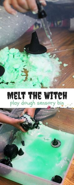 Melt the Witch Play Dough Sensory Bin - Wizard of Oz pretend play that takes 5 minutes to set up and the kids can play for over an hour! A fun twist on the traditional baking soda and vinegar experime (Halloween Bake For Kids) Sensory Bins, Sensory Activities, Learning Activities, Preschool Activities, Sensory Play, Sensory Rooms, Sensory Boards, Autumn Activities, Halloween Activities For Kids