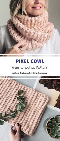 Col Crochet, Crochet Cowl Free Pattern, Crochet Motifs, Crochet Shawl, Crochet Stitches, Free Cowl Knitting Patterns, Crochet Infinity Scarf Pattern, Crochet Scarves, Crochet Clothes