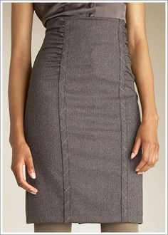 Need a waistband~ Flattering take on the librarian skirt. I'd love it with tall boots or a pump.