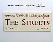 """Wood Family Name Sign with Quote """"Home Is Where Our Story Begins""""Customized Last Name Wedding Gift Wall Plaque for Home Decor"""