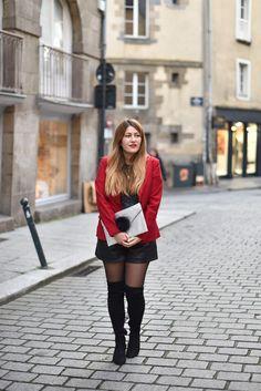Le blazer rouge - Elofancy Short Cuir, Zara, Pulls, Leather Skirt, My Style, Skirts, Sweaters, Fashion, Green Skater Skirt