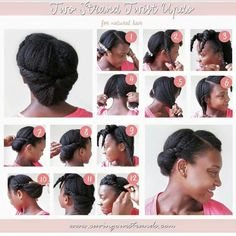 TOP 6 Quick & Easy Natural Hair Updos Natural hair updos get so much of love because its versatility and its contributions to help naturals to retain length as a protective hairstyle. Below are 6 quick and easy natural updo hairstyles. Pelo Natural, Natural Hair Updo, Natural Hair Care, Natural Hair Styles, 4c Hair, Hair Dos, Two Strand Twist Updo, Natural Hair Tutorials, Pelo Afro