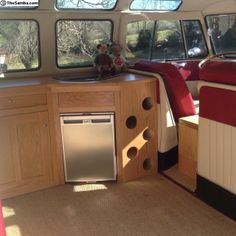 VW Interior- possible set up for van- good use of space behind seat