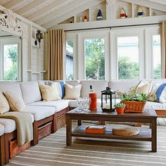 Furniture ideas for sunrooms, furniture ideas for sunrooms. Many things need to prepare before remodeling your home, such as designing the Sunroom. Through this article, we wants to give some ideas to create your Sunroom… Orange Room Decor, Orange Rooms, Home Interior, Interior Design, Sunroom Decorating, Sunroom Ideas, Small Sunroom, Sweet Home, Cottage Renovation