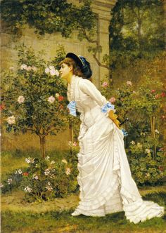 Auguste Toulmouche  A Girl and Roses  1879