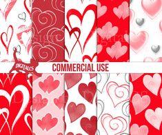 Hearts Printable paper download DIY Digital paper hearts Valentines Day digital by DigitalCS