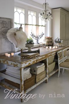 vintage by Nina old table vintage vignette Repinned by www.silver-and-grey.com