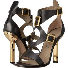 Versace Collection Oro Bizantino Open Toe Heel (Nero) Women's Shoes ($363) ❤ liked on Polyvore featuring shoes, pumps, black, high heel pumps, black ankle strap pumps, black shoes, leather pumps and ankle strap pumps
