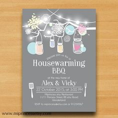 Housewarming Invitation New house Mason Jar BBQ by miprincess