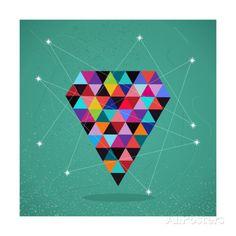 Retro Hipsters Trendy Triangle Diamond Illustration Art Print