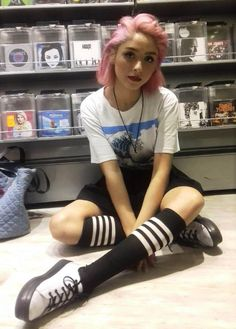 """""""The Great Wave off Kanagawa"""" graphic printed tee, black shorts, double stripe thigh high socks & combat boots by violletqueen"""