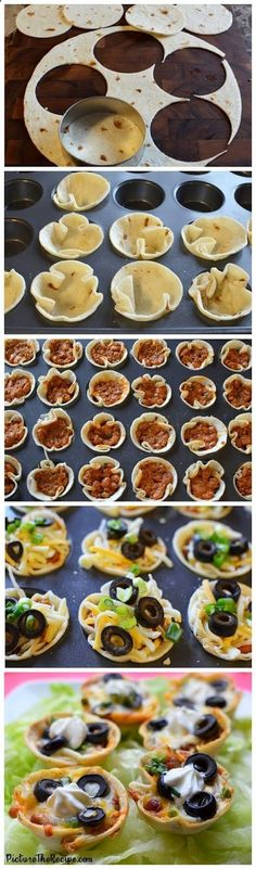 Tailgate snacks: Mini taco bites baked in a cupcake tin. This would be a really cool snack. and I'm thinking about trying it with Tostitos Scoops! Appetizers For Party, Appetizer Recipes, Snack Recipes, Cooking Recipes, Taco Appetizers, Girls Night Appetizers, Individual Appetizers, Cheap Appetizers, Bite Size Appetizers