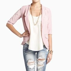 Pink Blazer, Ripped Jeans & Fab Necklace - Love!