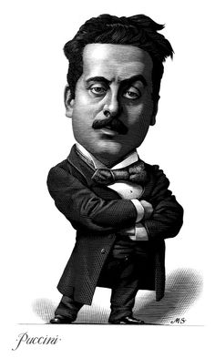 Composers Caricatures by Mark Summers, engraving, Puccini