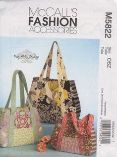 Mccall's Sewing Pattern 5822 Kay Whitt Design Purse Handbag Tote Bag 3 Style for sale online Handbag Patterns, Bag Patterns To Sew, Fabric Handbags, Purses And Handbags, Handmade Fabric Purses, Mccalls Sewing Patterns, Bag Making, Sewing Projects, Totes