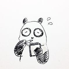 【一日一大熊猫】2016.10.28 高速でメモができるように速記方というものがあるね。笹っと書けるように線とか点とかハネとかを駆使してるね。カッコいいから身につけたい技だね。 #パンダ #速記方