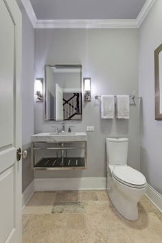 Wall color: Pelican Gray by Benjamin Moore. Hawthorn Woods Home Addition - transitional - Powder Room - Chicago - Airoom Architects-Builders-Remodelers Travertine Bathroom, Wood Floor Bathroom, Beige Bathroom, Grey Bathrooms, Bathroom Wall Decor, Bathroom Layout, Bathroom Ideas, Travertine Floors, Bathroom Pictures