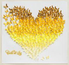 Painel coração de borboletas